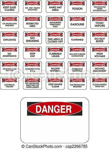 危険, ベクトル, 赤, サイン - csp2266785