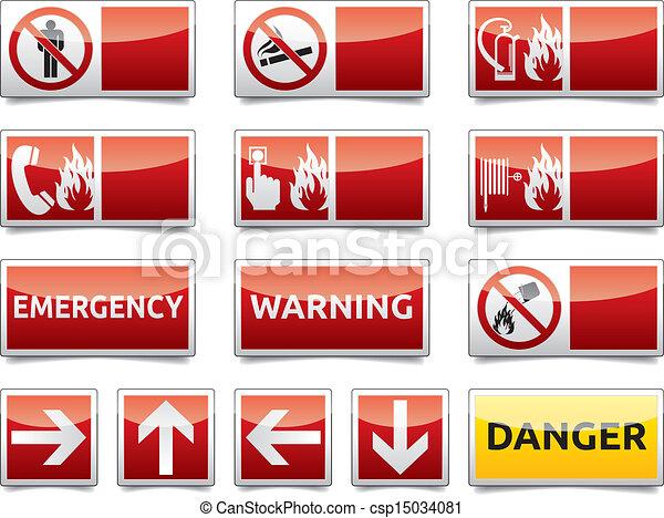 危険, ミニ, セット, 警告 印 - csp15034081