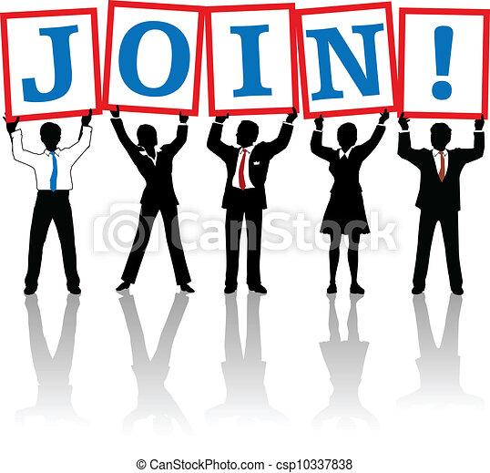 参加しなさい, ビジネス 人々, の上, サイン, 把握 - csp10337838
