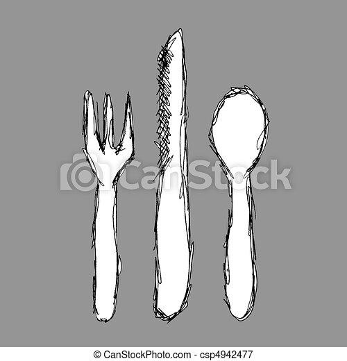 叉子, 刀 - csp4942477