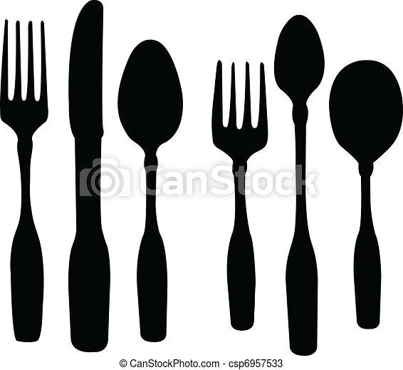 叉子, 勺, 刀 - csp6957533