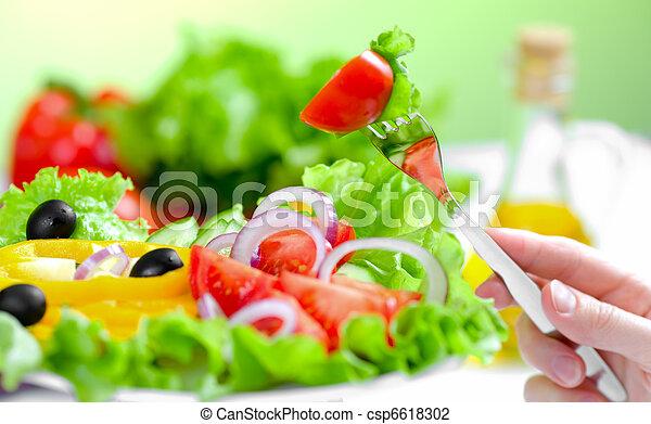 叉子, 沙拉, 健康的食物, 蔬菜, 新鮮 - csp6618302