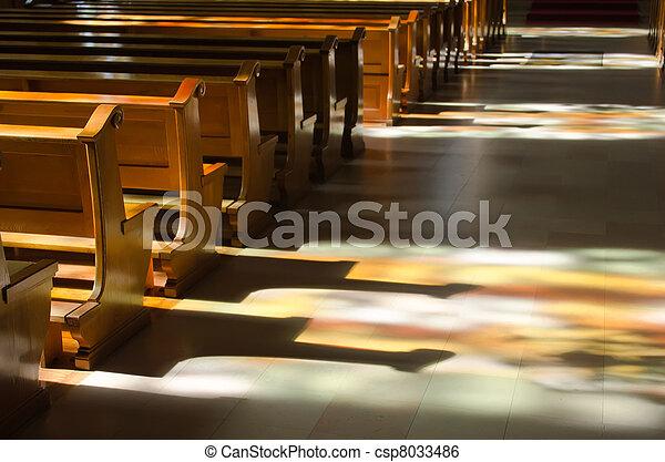 反射, 窓, 中, ステンドグラス, 教会 - csp8033486