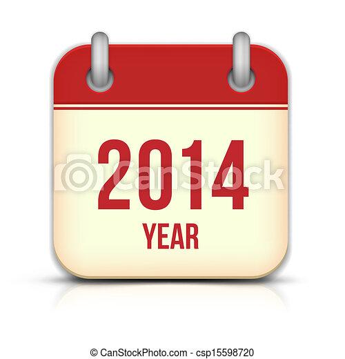 反射, app, ベクトル, 年, 2014, カレンダー, アイコン - csp15598720