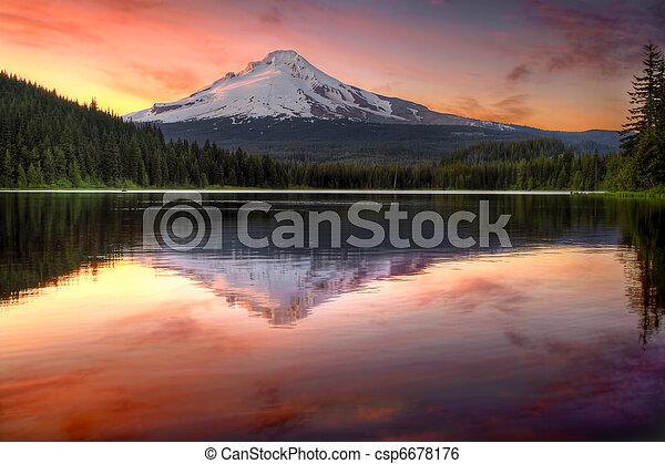 反映, 爬升, 湖, 日落, trillium, 兜帽 - csp6678176