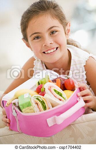 反響室, 若い, 昼食, 保有物, 女の子の微笑, パックされた - csp1704402
