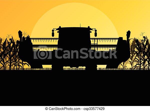 収穫機, トウモロコシ, 黄色, 秋, フィールド, ベクトル, コンバイン, 田園, 抽象的, 収穫する - csp33577429