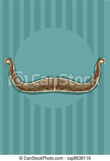 口ひげ, デザイン, background.vector, イラスト - csp8636116
