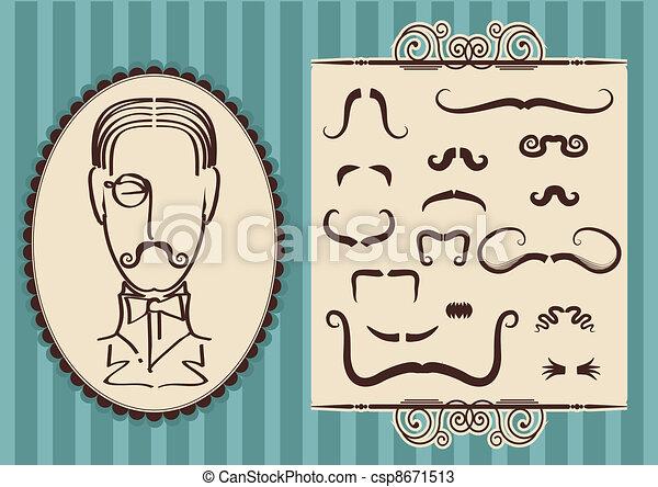 口ひげ, 肖像画, デザイン, 人 - csp8671513