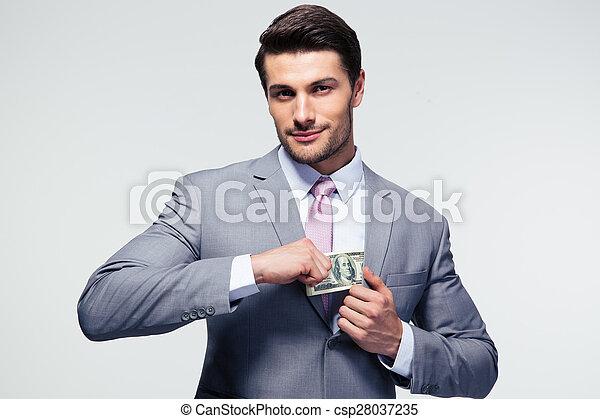 口袋, 商人, 放, 钱 - csp28037235