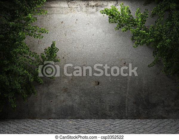 古い, ツタ, 壁, コンクリート - csp3352522