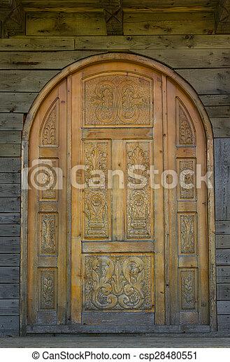 古い, ドア, 刻まれた - csp28480551
