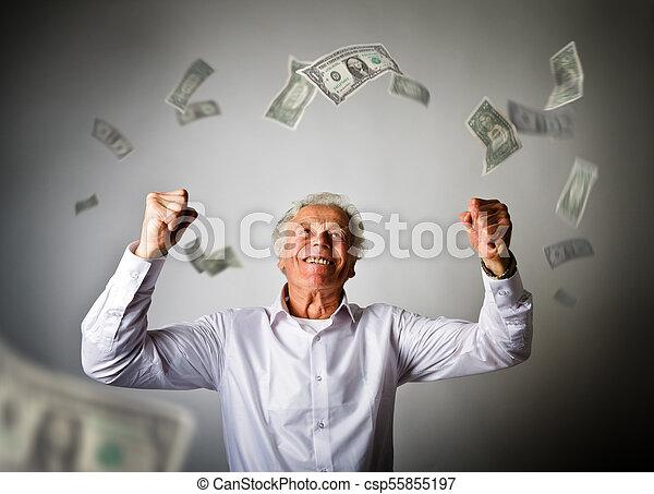 古い, ドル, 紙幣, 白, 落ちる, 人 - csp55855197