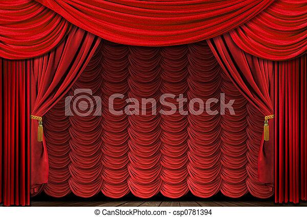 古い, ドレープ, 優雅である, 劇場, 作られた, 赤, ステージ - csp0781394