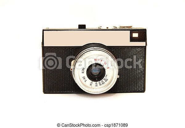 古い, 写真, 上に, 隔離された, カメラ, 背景, 白 - csp1871089