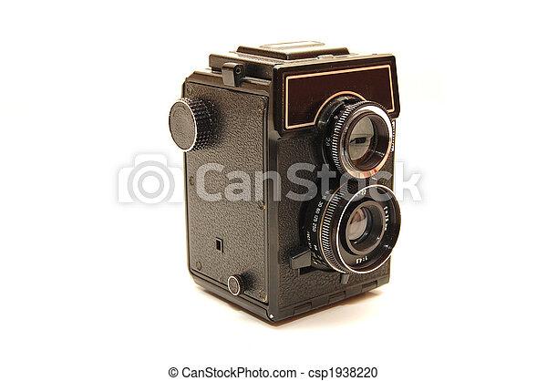 古い, 写真, 上に, 隔離された, カメラ, 背景, 白 - csp1938220