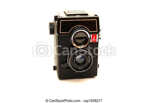 古い, 写真, 上に, 隔離された, カメラ, 背景, 白 - csp1938217