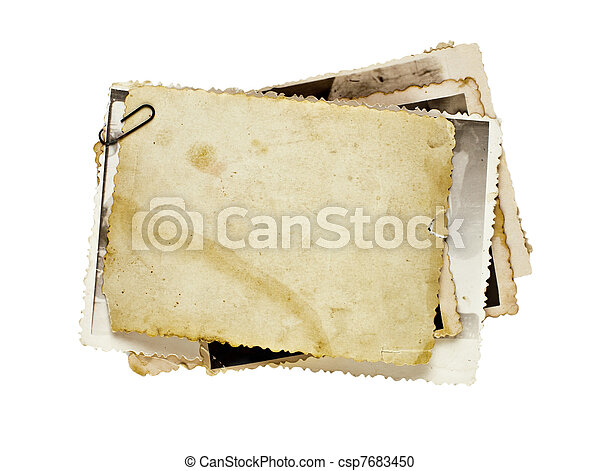 古い, 写真, 隔離された, 写真, 背景, あなたの, 束 - csp7683450