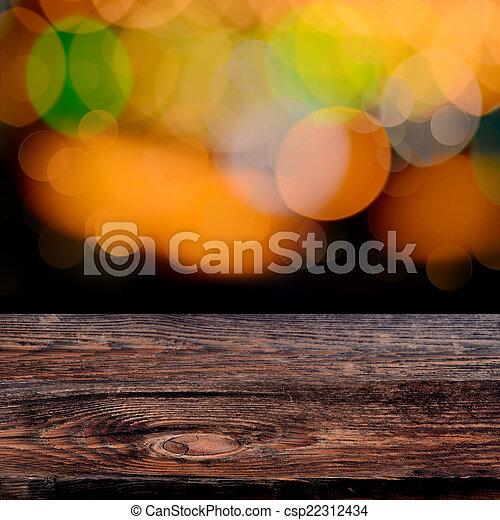 古い, 外気に当って変化した, 木製である, 光っていること, ライト, bokeh, 板, 背景, パーティー - csp22312434