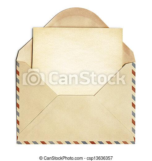 古い, 封筒, 隔離された, ペーパー, レトロ, 白紙, 白 - csp13636357