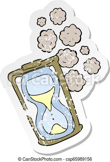 古い, 悲嘆させられた, ステッカー, レトロ, 漫画, 砂時計 - csp65989156
