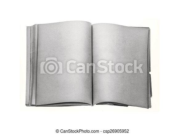 古い, 汚された, 黄色, 本, ブランク, ページ - csp26905952