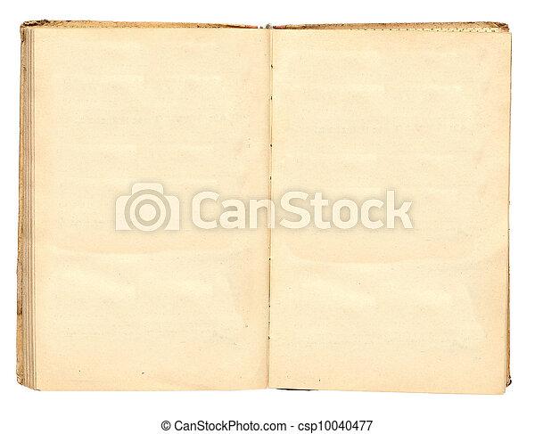 古い, 汚された, 黄色, 本, ブランク, ページ - csp10040477