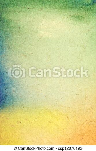 古い, 背景。, 型, 抽象的, textured, 背景, 黄色, painting:, パターン, 青, ペーパー, グランジ, /, フレーム, 緑, オレンジ, 芸術, ボーダー, デザイン, 手ざわり - csp12076192