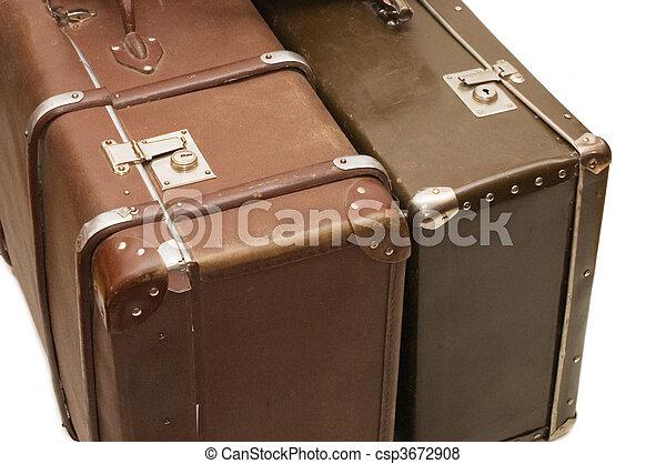 古い, 背景, 隔離された, スーツケース, 2, 白 - csp3672908