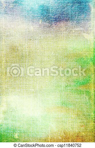 古い, 青, canvas:, 抽象的, パターン, 黄色, 緑の背景, textured - csp11840752