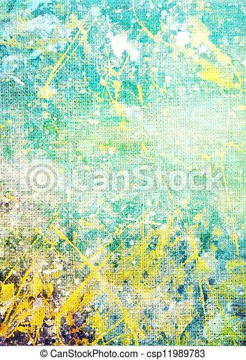 古い, 青, canvas:, 抽象的, パターン, 黄色, 緑の背景, textured, 白, 背景 - csp11989783