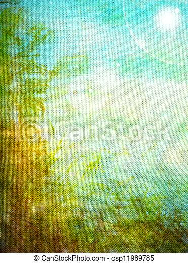 古い, 青, canvas:, 抽象的, パターン, 黄色, 緑の背景, textured - csp11989785