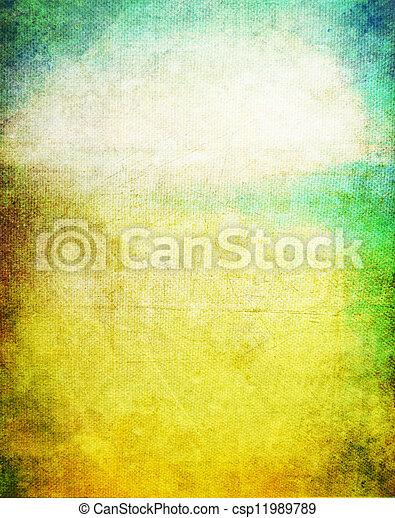 古い, 青, canvas:, 抽象的, パターン, 黄色, 緑の背景, textured - csp11989789