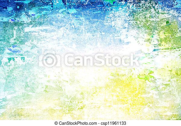 古い, background:, 抽象的, ぼろを着ている, パターン, 黄色, 緑, textured, 白, wall:, 背景, 青 - csp11961133