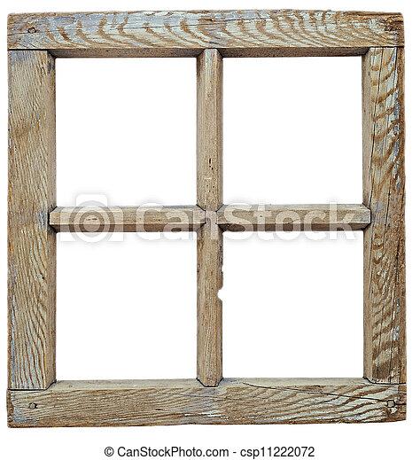 古い, grunged, 非常に, フレーム, 隔離された, 木製である, 窓, 白 - csp11222072