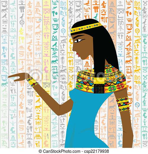 古代, エジプト人, 上に, 女, 背景, hieroglyps - csp22179938