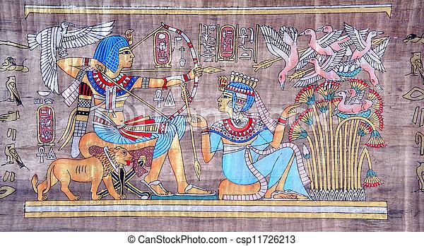 古代, パピルス, エジプト人 - csp11726213