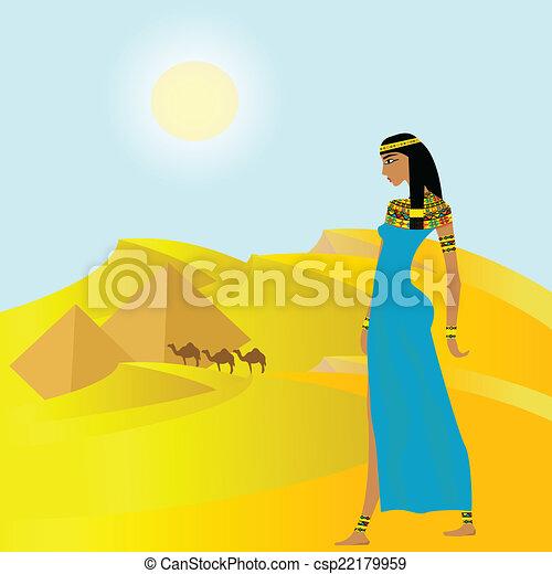 古代, ピラミッド, 女, 背景, エジプト人 - csp22179959