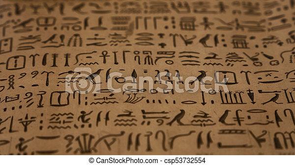 古代, 象形文字, 背景, エジプト人 - csp53732554