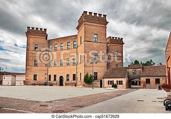古代, emilia-romagna romagna, mesola, ferrara, 城, italy: - csp51672629