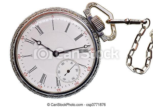 古董, 观看, 隔离, 口袋, 背景, 白色 - csp3771876