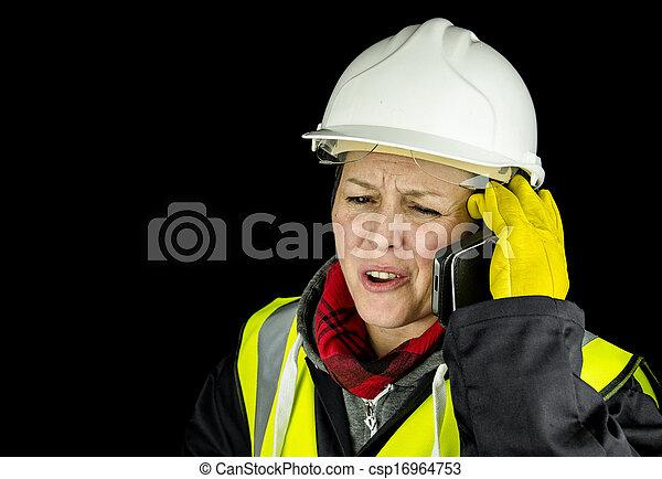 叫ぶこと, 建築者, 女性, 電話 - csp16964753