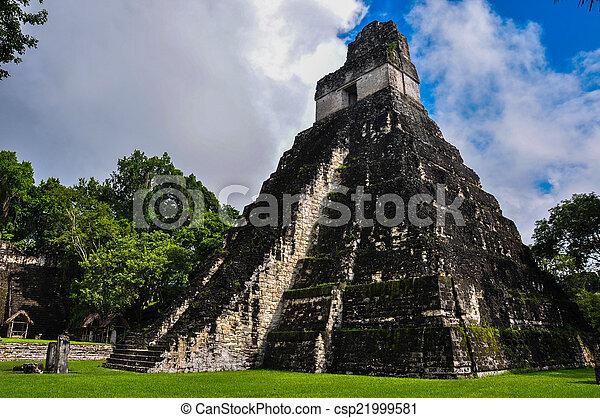 台なし, guatemala, ジャガー, tikal, 寺院 - csp21999581
