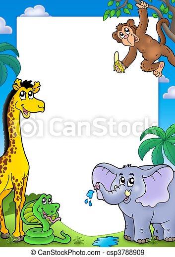 各種各樣, 框架, 動物, african - csp3788909
