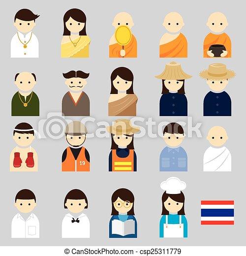 各種各樣, 泰國人們, 職業 - csp25311779
