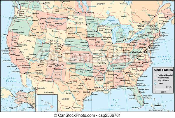 合併した, 地図, アメリカ, 州 - csp2566781