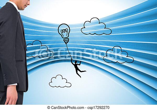 合成, ライト, 背景, グラフィック, 電球, 青, 未来派, イメージ - csp17292270