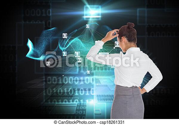 合成, 彼女, 頭, かく, 女性実業家, イメージ - csp18261331