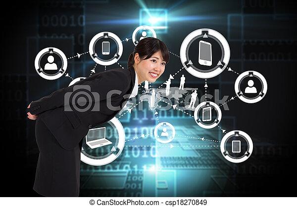 合成, 曲がること, 微笑, 女性実業家, イメージ - csp18270849