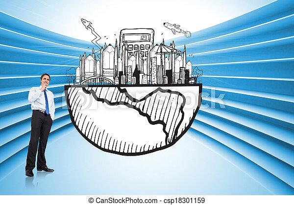 合成, 考え, ビジネスマン, あご, イメージ, 感動的である - csp18301159